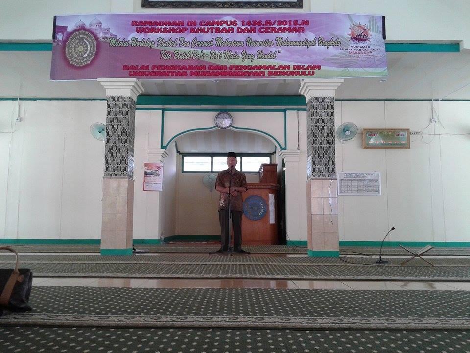 penutupan kegiatan workshop ceramah dan khutbah mahasiswa kkn umb yang bertempat di masjid alfarabi.